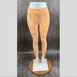 Lularoe One Size Stretchy Floral Leggings Peach